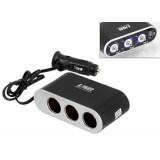 Automobilinis 12V lizdo šakotuvas su laidu IN-CAR PLS24C USB 1kištukas ->3lizdai
