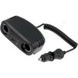 Automobilinis 12V lizdo šakotuvas su laidu 10mA USB 1kištukas ->2lizdai