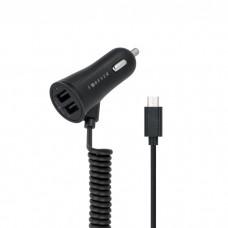 Automobilinis Įkroviklis 12-24V 5V 2,4A 2xUSB+USB micro 1m spiralinis  Forever