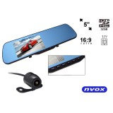 Automobilinis vaizdo registratorius Nvox DR5019 DU su veidrodėliu ir galinio vaizdo kamera