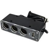 Automobilinis 12V/24V lizdo šakotuvas su laidu USB 1kištukas ->3lizdai