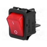 Klavišinis jungiklis R595KDFT2FA 16A/250VAC OFF-ON su 220V neon. Lempute