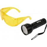 Komplektas UV LED žibintuvėlis+akiniai Yato YT-08581