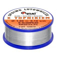Lydmetalis 1,0mm 100g 60Sn/40Pb Cynel