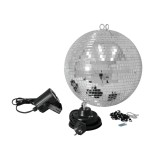 Veidrodinis gaublys su šviesos efektu Eurolite Mirror Ball Set 30cm with LED Spot