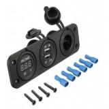 Automobilinis pridegiklio USB lizdas 5V 2x2,1A su voltmetru PLS37