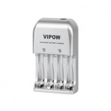 Akumuliatorių įkroviklis 220V AA/AAA Vipow