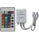 LED juostų valdiklis su pultu 12V 6A 72W IR20 RGB