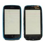 Touch screen Nokia 610 Lumia with frame blue originalas